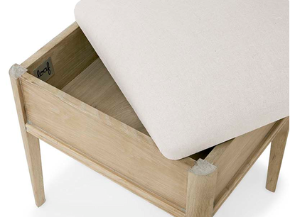 Lippy oak dressing table stool with storage
