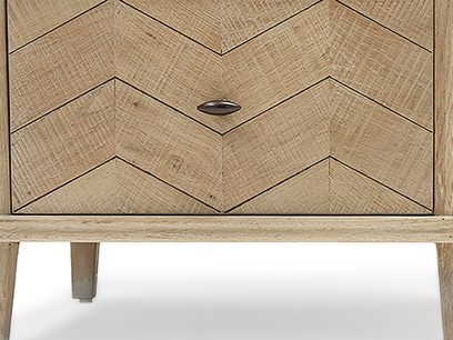 Tall Flapper tall boy parquet style chest of drawers leg detail