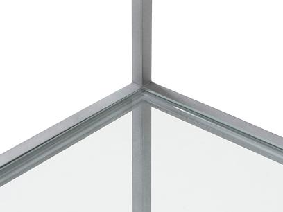 Tall Wolfie glass shelf metal detail