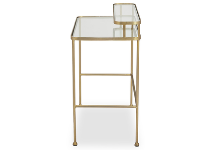 Showtime brass and glass top dressing table side