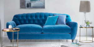 Chesterfield style button back Butterbump velvet sofa