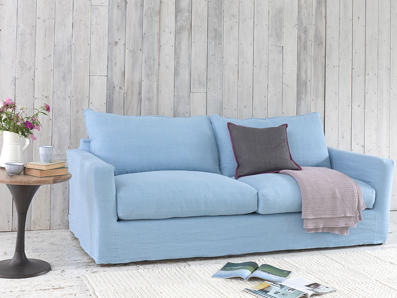 Large Pavilion sofa in Cloud Blue vintage linen with removable cover