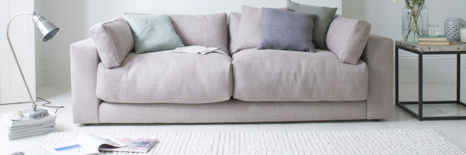 Atticus comfy British-made sofa with removable arms