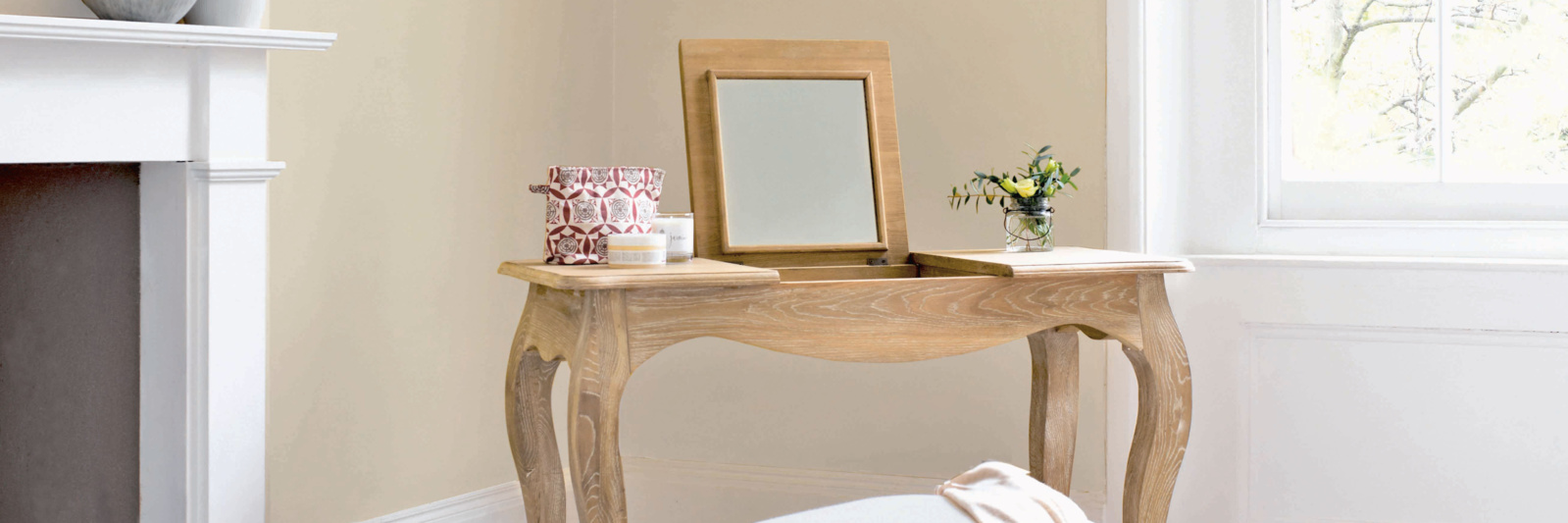 Wooden dressing table and stool