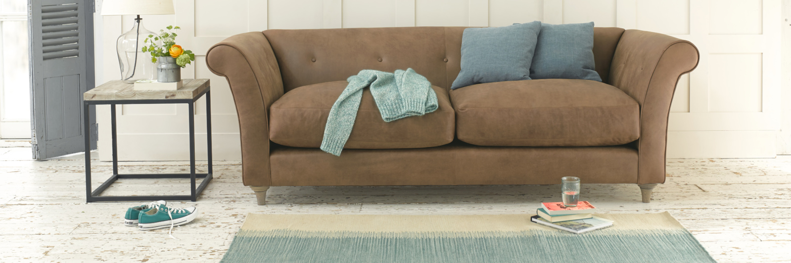 Chester brown leather sofa