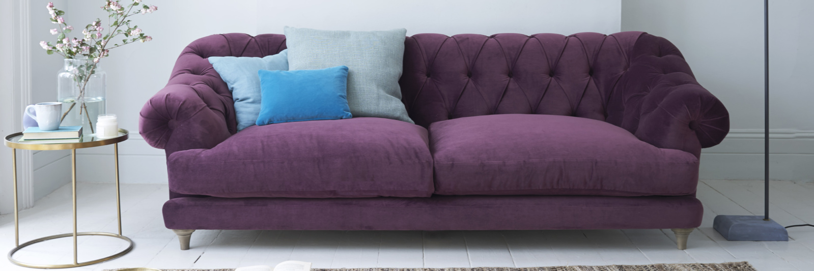 Bagsie deep-buttoned chesterfield sofa in purple fabric