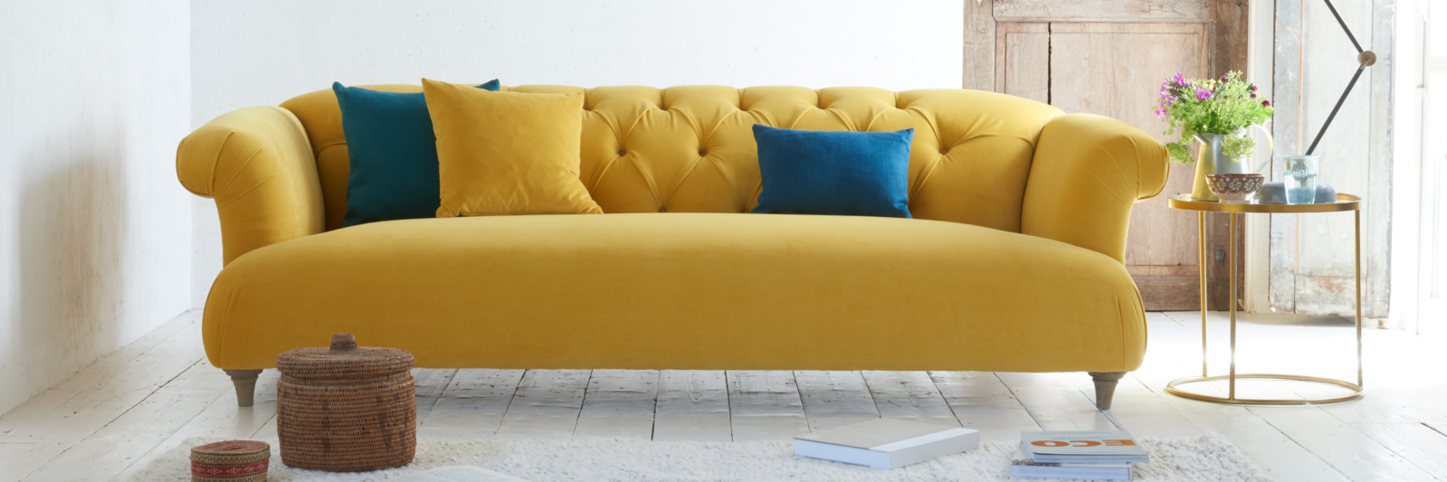 Large Dixie deep-buttoned sofa