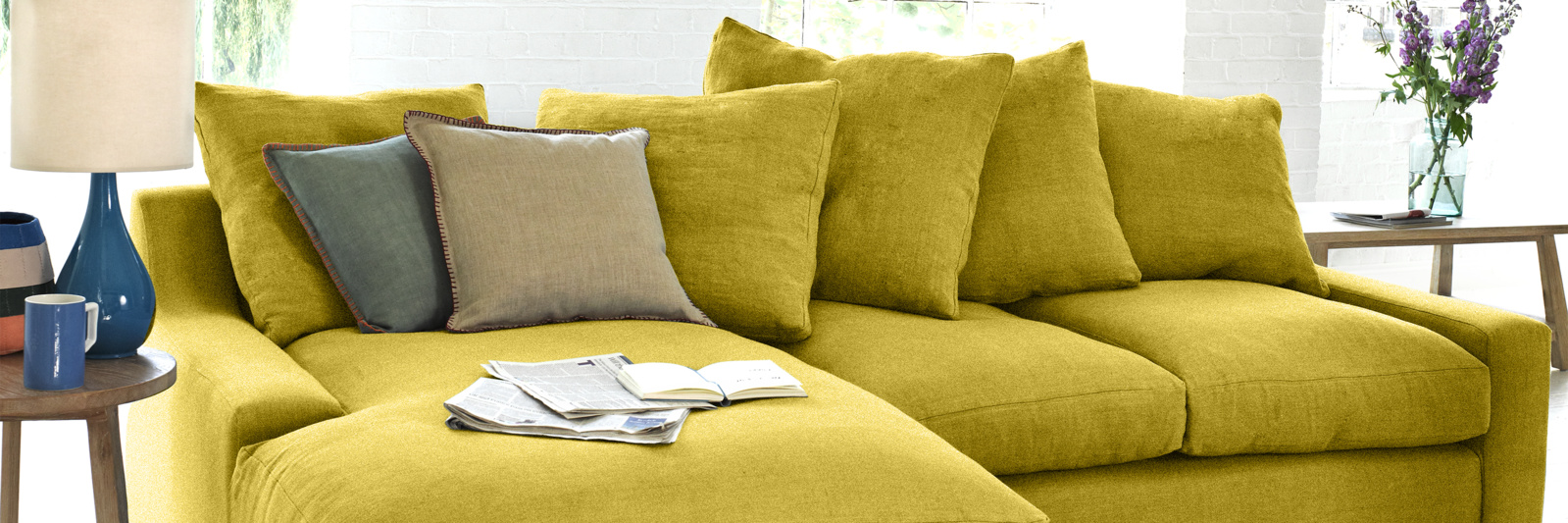 Cloud chaise sofa in yellow fabric