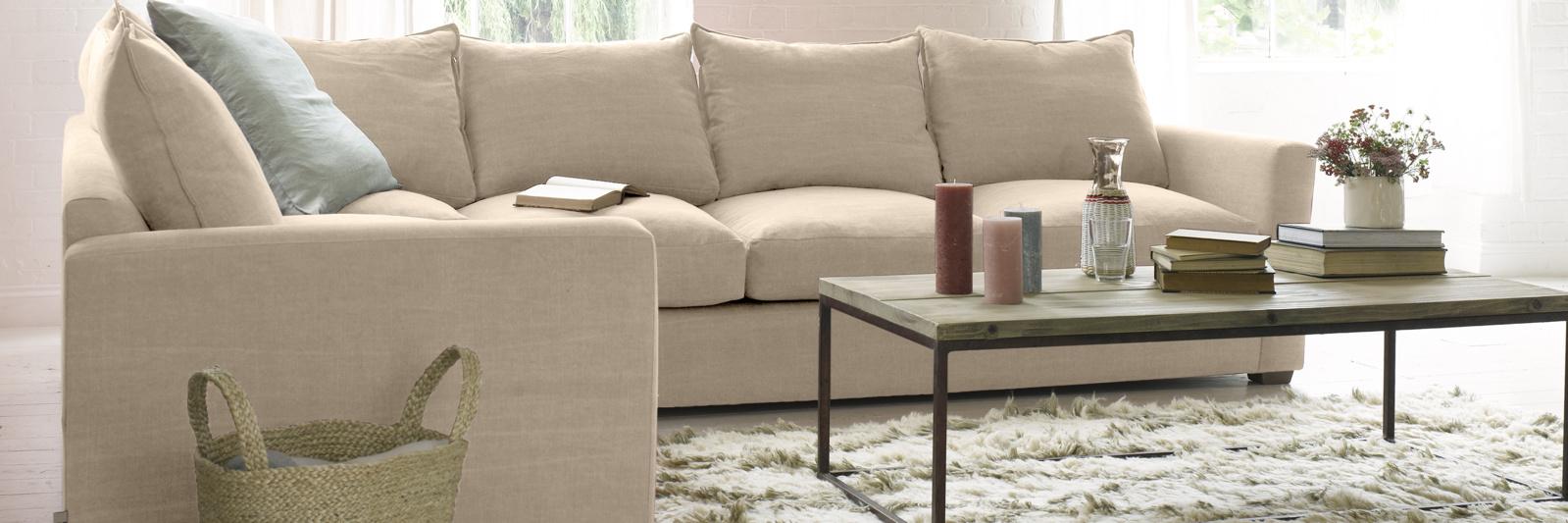 Pavilion corner sofa in neutral fabric