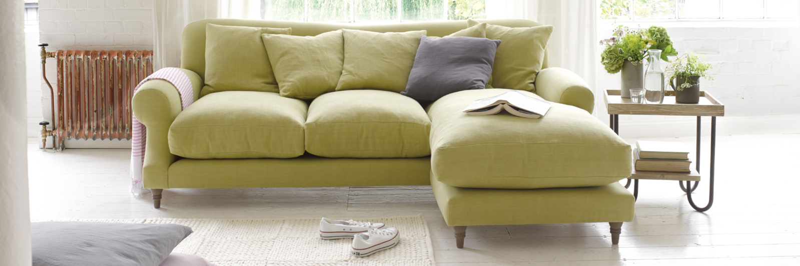 Green Crumpet scatterback chaise sofa