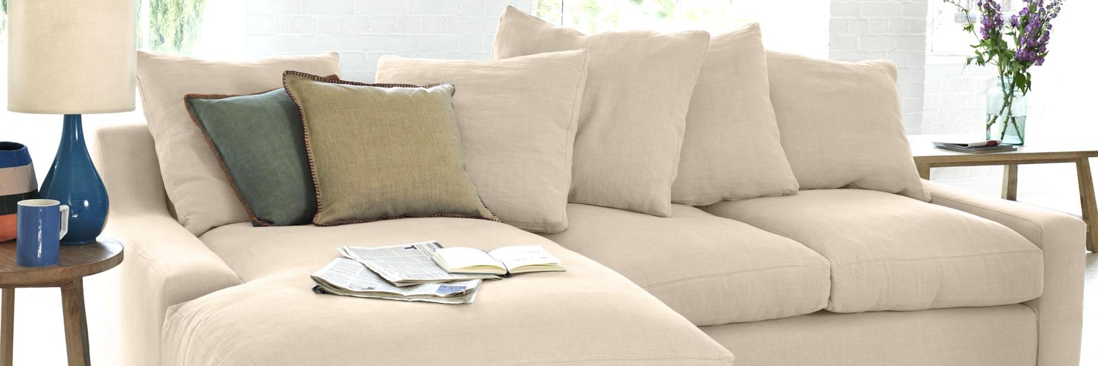 Cloud chaise sofa in neutral  fabric