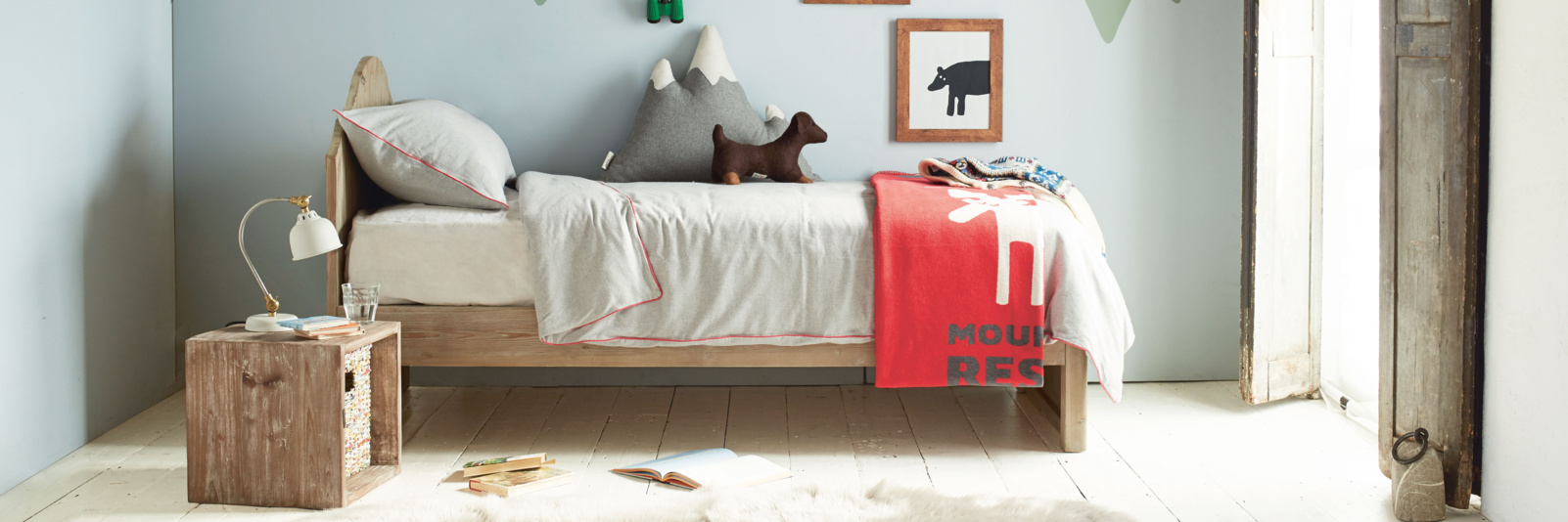 Cool white and wooden children's beds