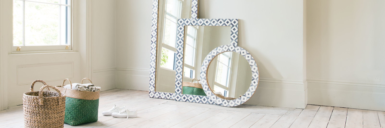 Beautiful wall mounted or standing wooden and metal mirrors