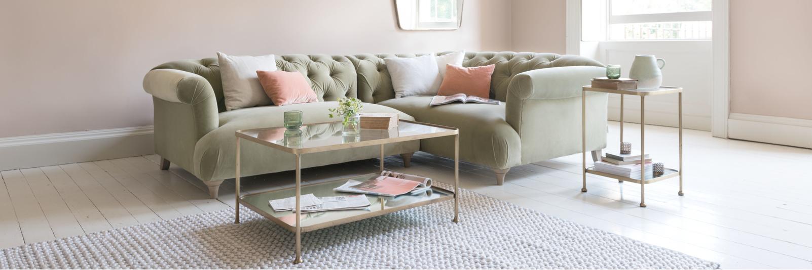 Handmade velvet corner sofas