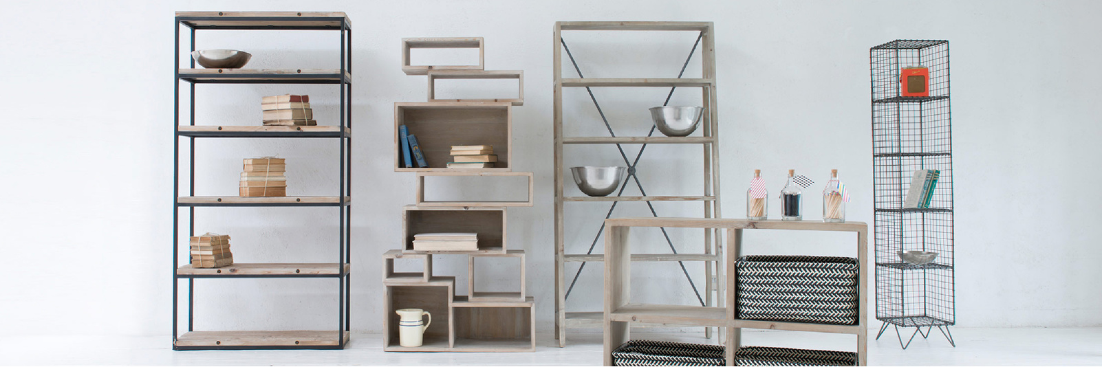 Range of free standing shelves