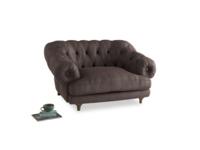 Bagsie Love Seat in Dark Chocolate beaten leather