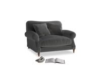 Crumpet Love seat in Steel clever velvet
