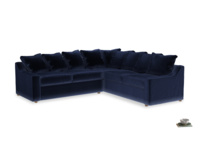 XL Right Hand Corner Cloud Corner Sofa Bed in Midnight plush velvet
