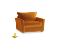 Pavilion Love Seat in Burnt Orange Plush Velvet
