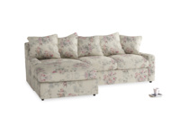 Large left hand Cloud Chaise Sofa in Pink vintage rose