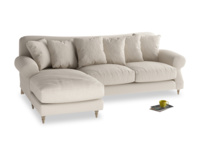 XL Left Hand  Crumpet Chaise Sofa in Buff brushed cotton