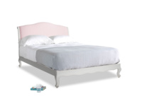 Kingsize Coco Bed in Scuffed Grey in Pale Rose vintage linen