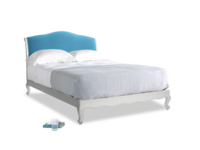 Kingsize Coco Bed in Scuffed Grey in Teal Blue plush velvet