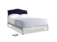 Kingsize Coco Bed in Scuffed Grey in Midnight plush velvet