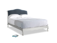 Kingsize Coco Bed in Scuffed Grey in Liquorice Blue clever velvet