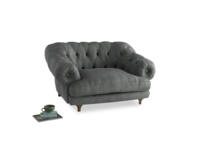 Bagsie Love Seat in Faded Charcoal beaten leather