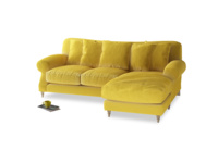Large right hand Crumpet Chaise Sofa in Bumblebee clever velvet