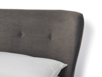 Luxury retro Smoke bed with upholstered curved headboard in a contemporary style