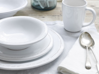 Styled Ambrosia kitchen ceramics with a bowl, two plates and a mug