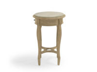 French antique inspired curved leg wooden round Bella handmade bedside table