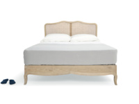 Handmade French inspired style beautiful Margot rattan bed in weathered oak