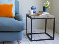 Industrial cube Postino side table made from reclaimed wood and metal