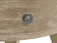 Weathered oak wooden round Bella bedside table with curved legs
