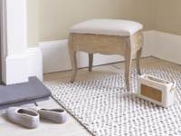 Louise dressing table stool in weathered oak with upholstered seat pad