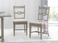 British made wooden reclaimed Chinwag Beached dining chairs