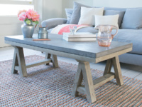 Ace industrial concrete coffee table in cover concrete and reclaimed elm