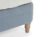 Solid weathered oak legs on the contemporary Dazzler bed