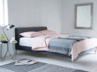Luxury Chrome upholstered bed in a contemporary style