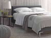 Chrome upholstered contemporary luxury bed