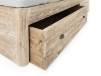 Solid base of the Woody bed with storage drawers handmade in reclaimed oak