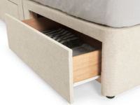 Contemporry Tight Space upholstered divan bed with four storage drawers