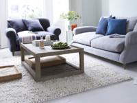 Shaggy floor rug is a handmade knitted rug
