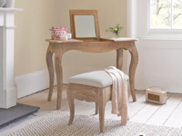 French style Thelma dressing table in solid oak with a mirror and matching stool