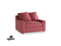 Cloud love seat sofa bed in Raspberry brushed cotton