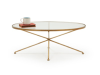 Round glass metal brass Keeper oval coffee table