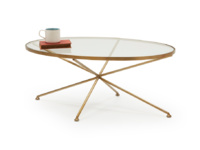 Glass top oval round metal brass Keeper coffee table